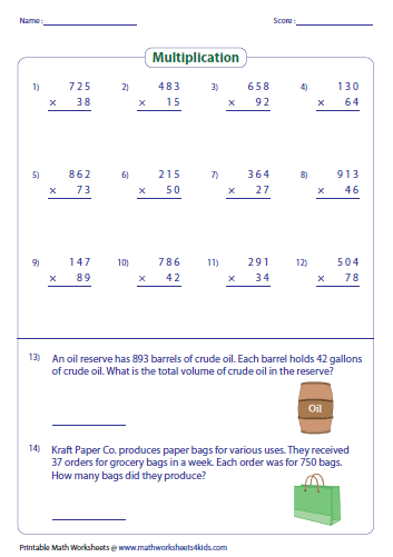 4 digit by 1 digit multiplication worksheets pdf