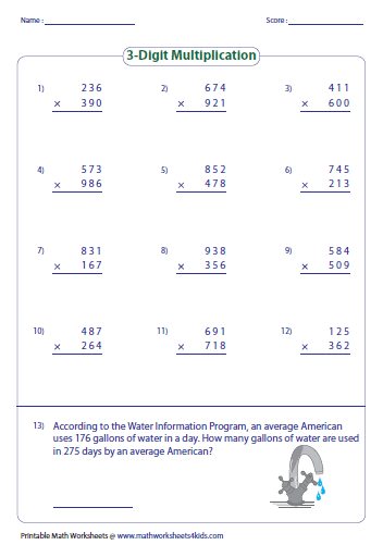 Multiplying Large Numbers WorksheetsMultiplying 3 Digit Numbers