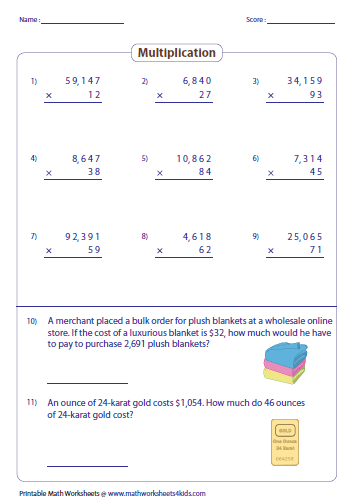multiplying large numbers worksheets multiplying  and  digit by  digit