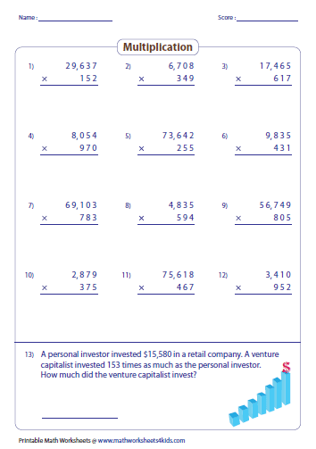 Multiplying Large Numbers Worksheets