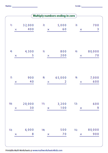 Multiplication Worksheets multiplication worksheets grade 4 100 problems : Multiplying Large Numbers Worksheets