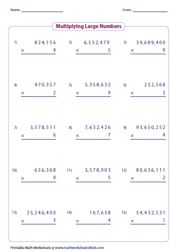 Advanced Multiplication Worksheets: Large Numbers