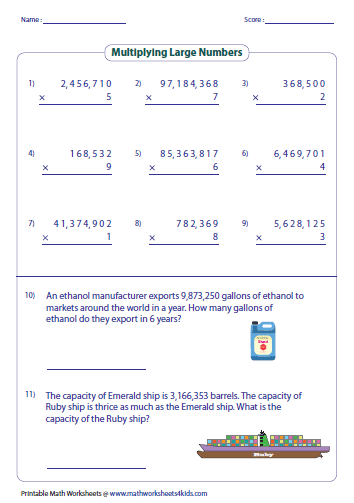 math worksheet : multiplying large numbers worksheets : Multiplication Worksheets Word Problems