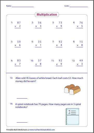 Multiplication Worksheets multiplication worksheets one digit by two digits : Basic Multiplication Worksheets