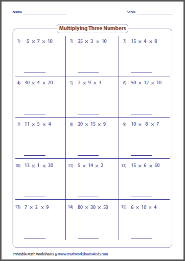 Multiplication Worksheets multiplication worksheets yr 3 : Basic Multiplication Worksheets