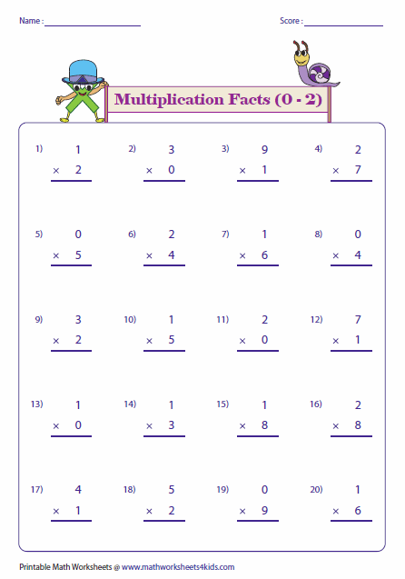 Multiplication Worksheets 0 : Multiplication facts worksheets