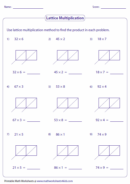 lattice multiplication worksheets and grids digit and singledigit lattice multiplication