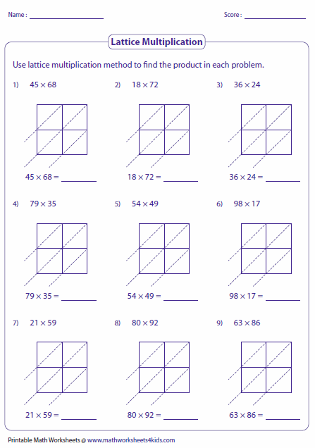 Printables Lattice Multiplication Worksheets lattice multiplication worksheets and grids 2 digit multiplication