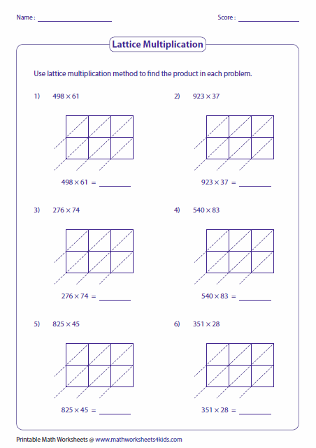 Printables Lattice Multiplication Worksheets lattice multiplication worksheets and grids 3 2 digit multiplication