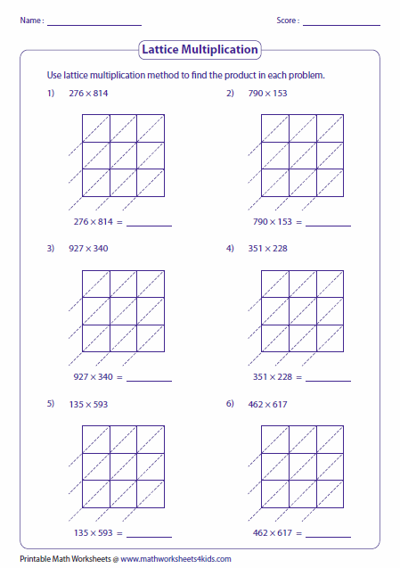 math worksheet : lattice multiplication worksheets and grids : Three Digit Multiplication Worksheets