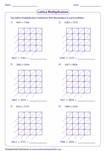 math worksheet : lattice multiplication worksheets and grids : 4 By 1 Multiplication Worksheets