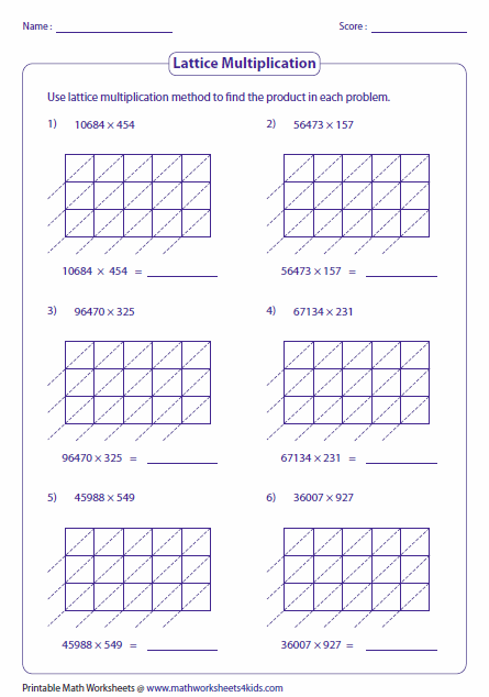 Multiplication Worksheets multiplication worksheets one digit by two digits : Lattice Multiplication Worksheets and Grids