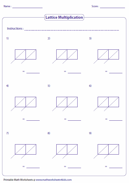 math worksheet : lattice multiplication worksheets and grids : Blank Lattice Multiplication Worksheets