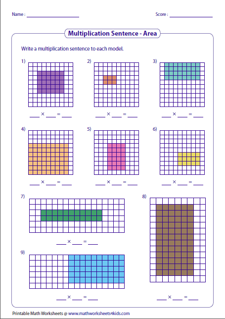 multiplication models worksheets writing multiplication sentences area