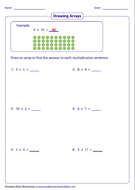 math worksheet : multiplication models worksheets : Multiplication Using Arrays Worksheet