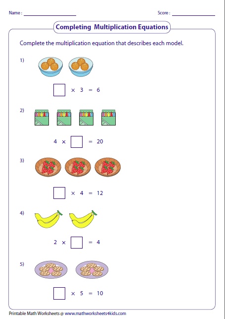math worksheet : multiplication models worksheets : Multiplication Equations Worksheets