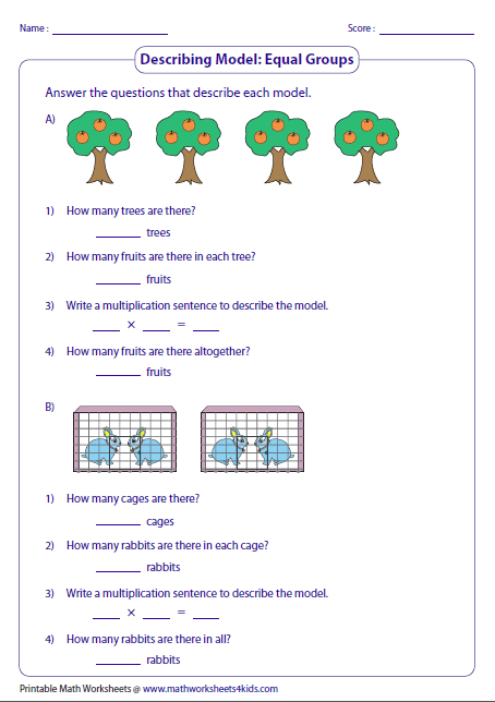 Printables Equal Groups Multiplication Worksheets multiplication models worksheets