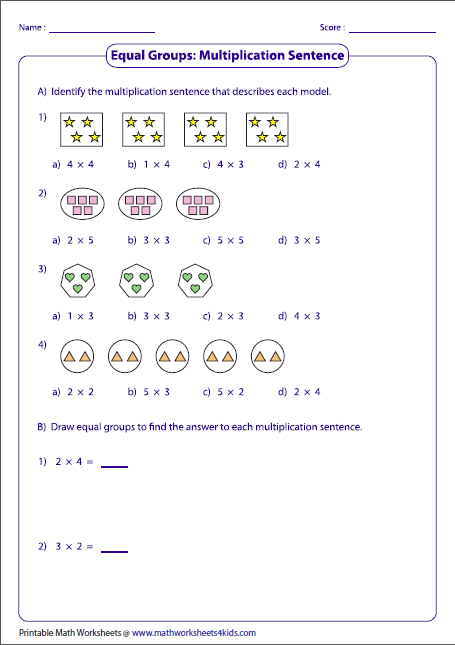 multiplication models worksheets equal groups  multiplication sentences