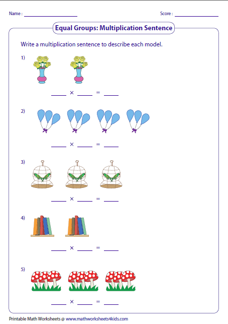 Printables Equal Groups Multiplication Worksheets multiplication models worksheets writing sentences equal groups