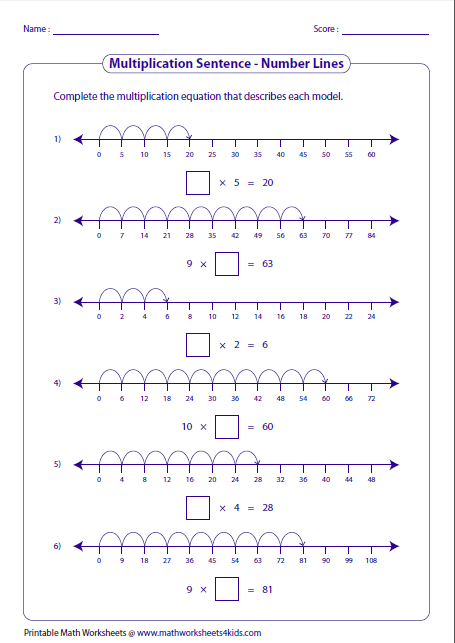 Worksheets Number Sentence Worksheets multiplication models worksheets completing sentences number lines