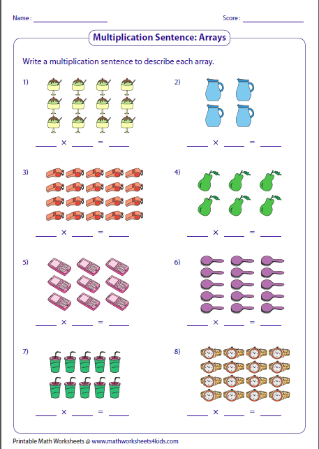 multiplication models worksheets writing multiplication sentences arrays