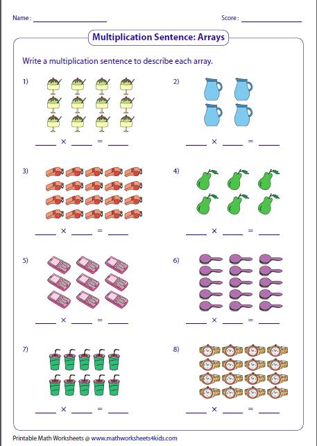 3rd grade multiplication worksheets arrays