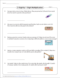 multiplication word problems worksheets  worksheets multiplication single and digit