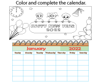 Color and Complete the Calendar