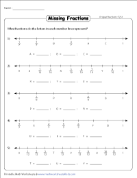 Fractions On A Number Line Worksheets Missing Numbers Type