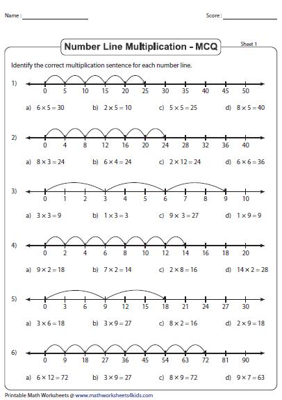 multiplication using number line worksheets. Black Bedroom Furniture Sets. Home Design Ideas