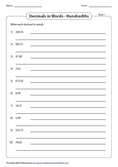 decimal number names worksheets. Black Bedroom Furniture Sets. Home Design Ideas