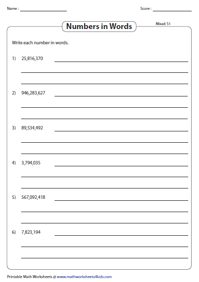 Large Numbers In Words Worksheets Millions