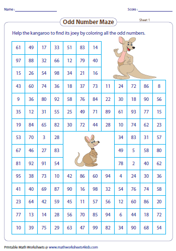 Number Names Worksheets even and odd numbers worksheet : Odd and Even Numbers Maze