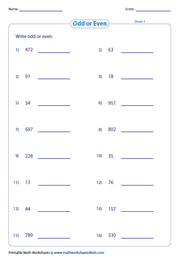 Odd Even on Space Worksheets