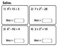 order of operations worksheets order of operations exponents