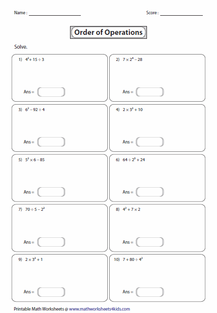 Printables Order Of Operations Worksheet With Exponents order of operations worksheets exponents level 1