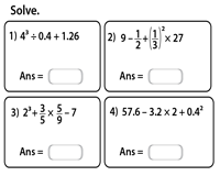 Order Of Operations Worksheets Exponents With Fractions And Decimals Exponents And Operations