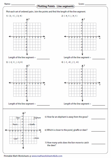 Printables Plotting Points Worksheet ordered pairs and coordinate plane worksheets length of the line segment