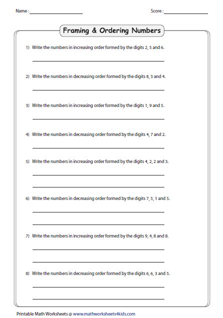 Ordering Numbers Worksheets on Ordering 5 Digit Numbers Worksheet
