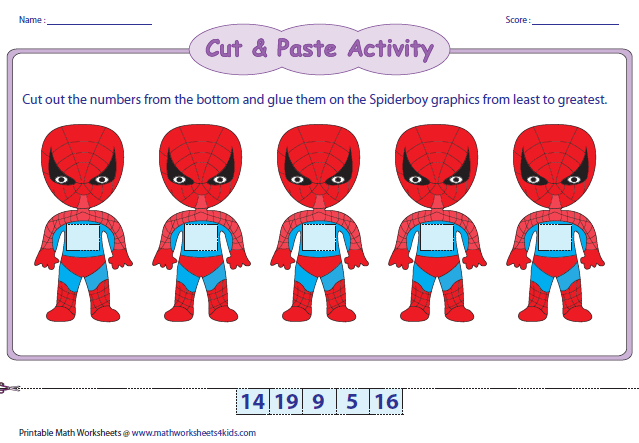 Ordering Numbers Worksheets. Spiderboy Theme 120. Worksheet. Numbers 1 20 Cut And Paste Worksheet At Clickcart.co