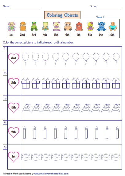 Ordinal Numbers Worksheets and