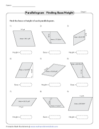 Find the base or height of Parallelograms | Decimals