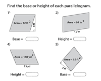 Find the base or height of Parallelograms | Integers