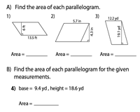 Area of Parallelograms Worksheets