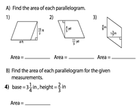 Area of Parallelograms | Fractions