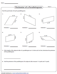 Perimeter of a Parallelogram | Decimals