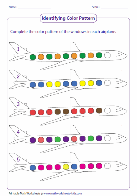 pattern worksheets color pattern