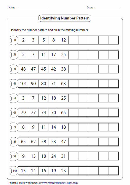 pattern worksheets pattern between differences