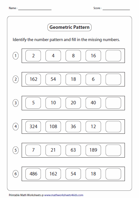 Printables Number Sequence Worksheets pattern worksheets geometric pattern