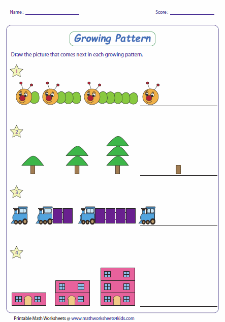 Printables Patterns And Sequences Worksheet pattern worksheets growing type 1